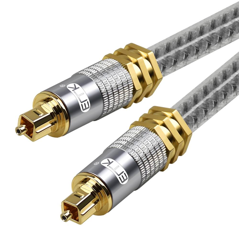 EMK Grado Superior OD8.0mm Spdif Cable óptico de Metal chapado en oro...