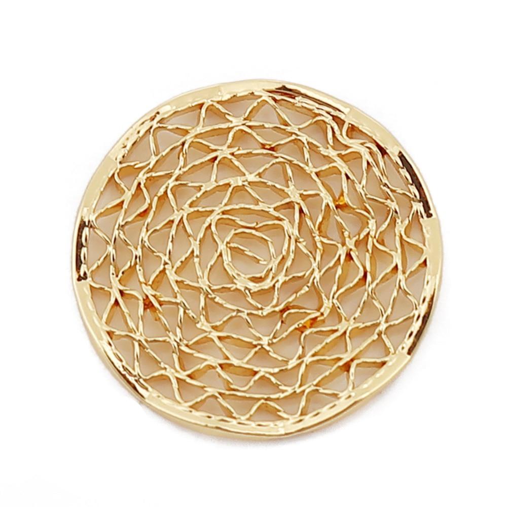 "Espaciadores de malla redondos de Color dorado con adornos de cobre Doreen Box accesorios para joyería DIY 15mm (5/8 "") Dia., 2 uds"