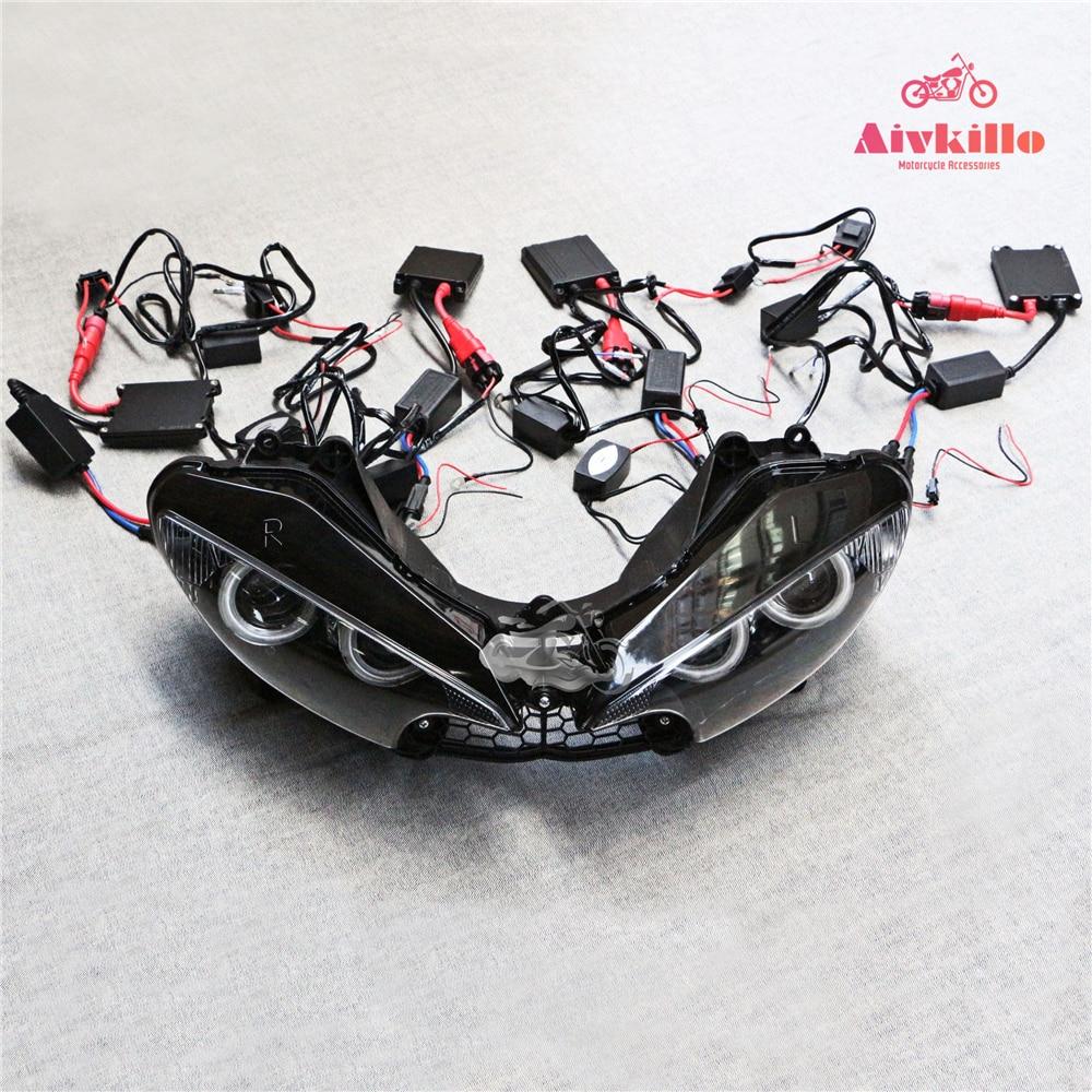 مجموعة المصباح الأمامي لجهاز عرض HID ، لدراجة نارية Yamaha YZF R6 2003 2004 2005 Angel Eye 55W
