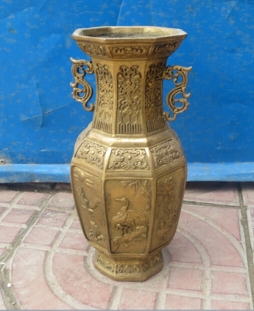 Decoración china, jarrón de latón tallado a mano con ocho ángulos, envío rápido