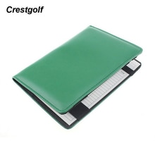 CRESTGOLF 1pc Deluxe Genuine Leather Golf Score Card Holder with 1pc Wood Pencil and 2pcs Score Card