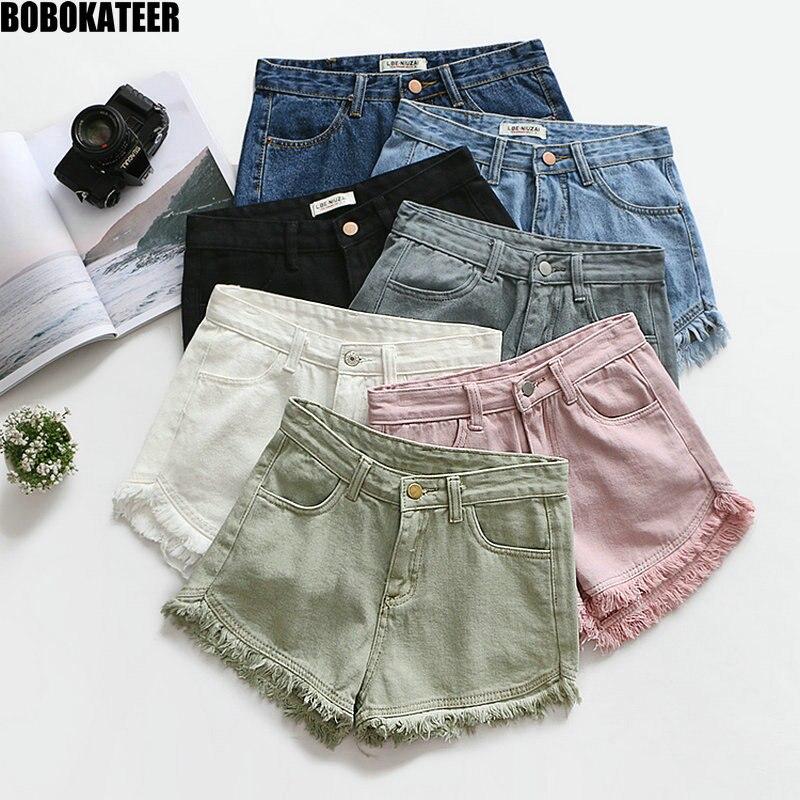 BOBOKATEER Sexy Denim Shorts Women Mini Short Mujer Hot Pant Pink Casual Summer Black White High Waist Femal Shorts Jeans 2020
