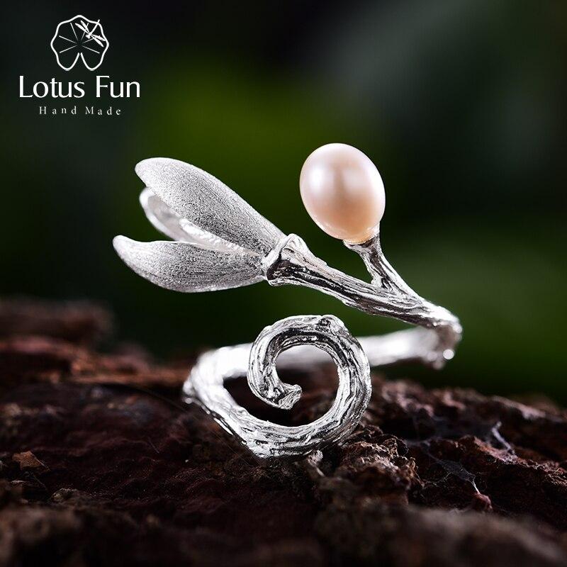 Lotus Fun реальные стерлингового серебра 925 натуральный жемчуг Творческий ювелирных украшений ручной работы цветок магнолии кольца для женщин Дизайнер Bijoux