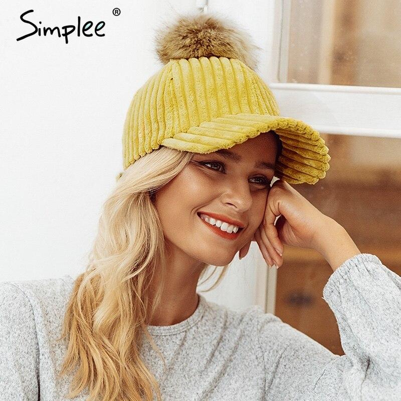 Simlpee Corduroy hair ball adjustable female hat 2018 Fashion style autumn winter women hat Casual elegant hat casquette