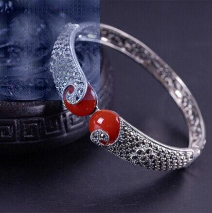 KJJEAXCMY Boutique-سوار من الفضة الإسترليني عيار 925 مرصع بحجر العقيق