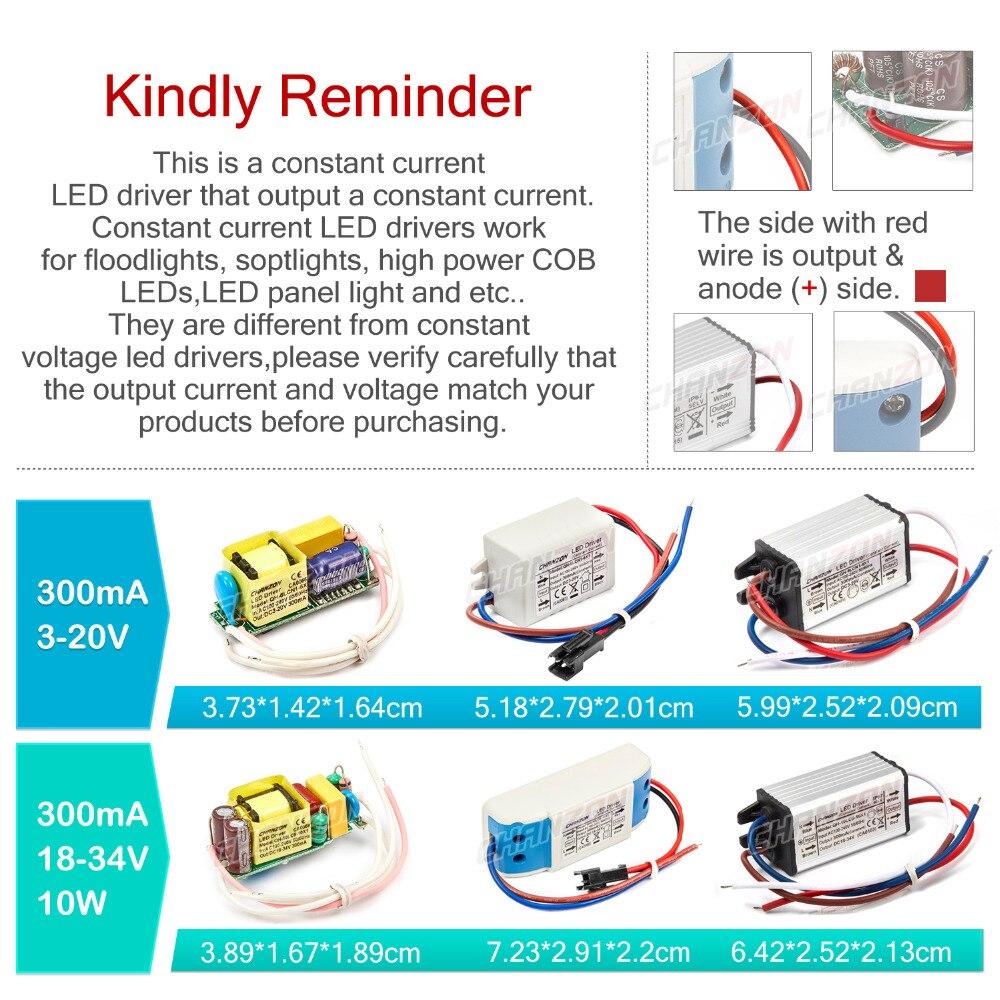 LED Driver 1W 3W 5W 10W 20W 30W 36W 50W 100W 300mA 600mA 900mA 1500mA iluminación a prueba de agua transformadores para DIY de encendido para lámpara de