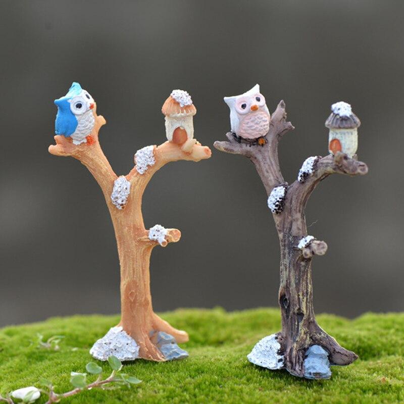 Accesorios de jardín en miniatura para casa de muñecas miniatura búho rama nocturna terrario JX-LCLYL