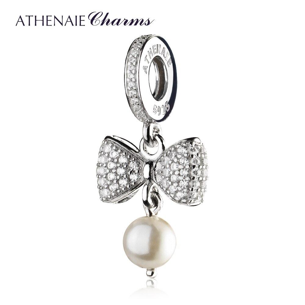Athenaie 925 prata esterlina pave claro cz espumante arco branco pérola pingente colar encantos ajuste pulseiras feminino presente de natal