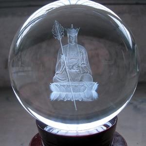 Wholesale Buddha # efficacious The town HOME House Talisman- Buddhist 3D Ksitigarbha Bodhisattva Buddha Crystal ball statue