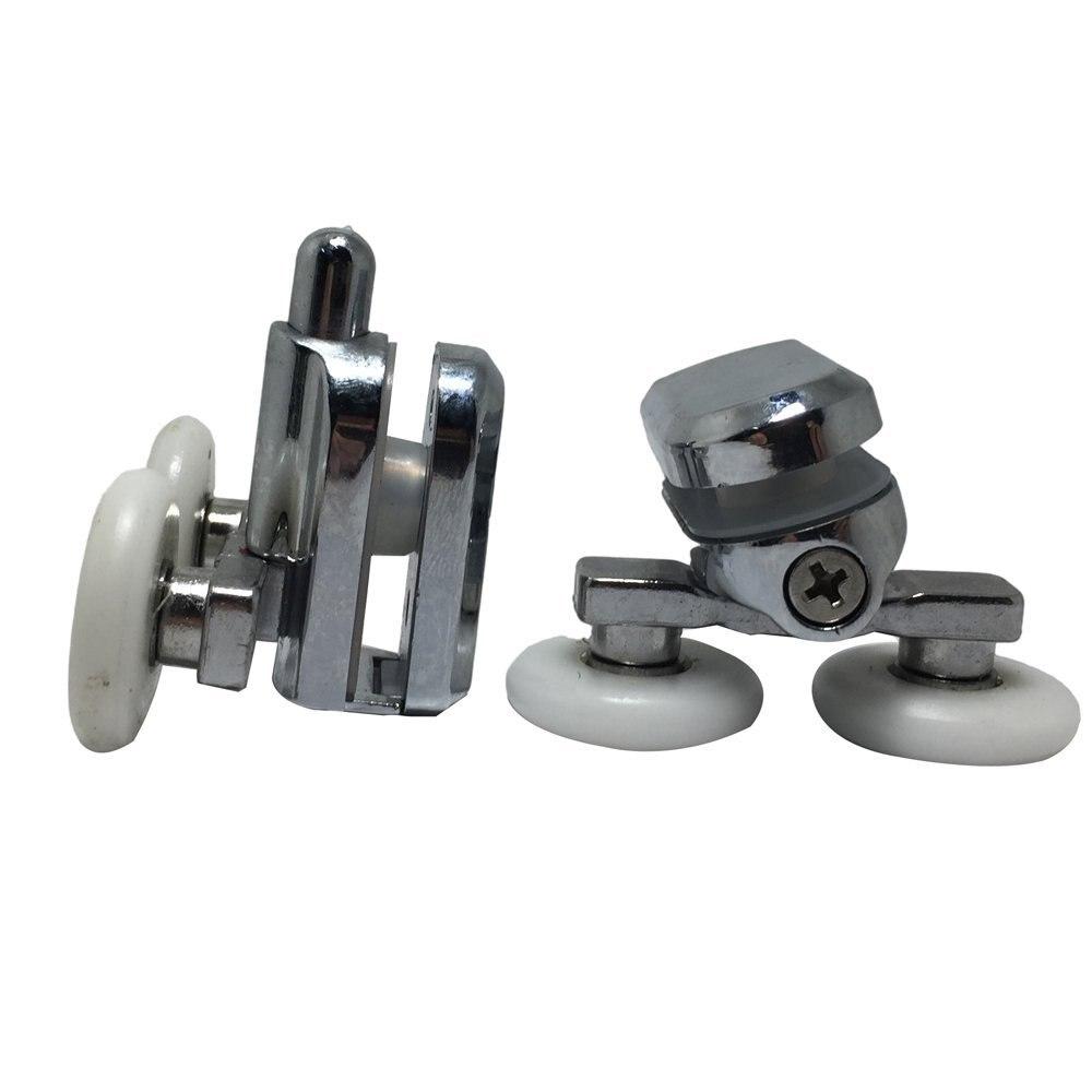 Ruedas de fijación de puerta de ducha de repuesto en cromado-4x Top y 4x inferior-25 MM