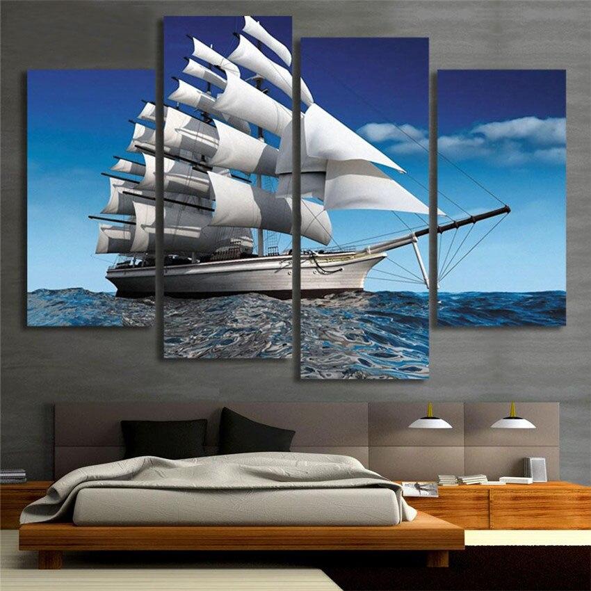 Pintura en lienzo de barco de vela oceánico para decoración del hogar,...
