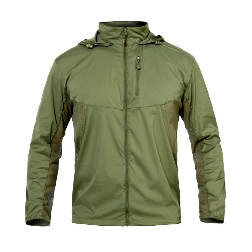 Táctico militar elástico piel chaquetas hombres ligero impermeable secado rápido abrigo ejército transpirable chaqueta fina Sudadera con capucha ropa