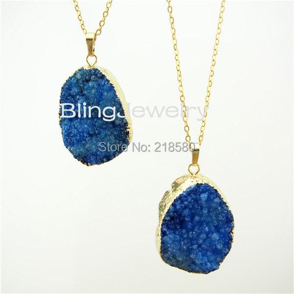 SN-037 Royal Blue Druzy Pendant Necklace Gold