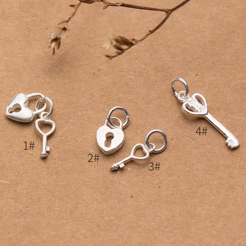 Moda 925 plata esterlina pareja corazón Ley & Lock encantos pulseras tejidas pendientes S925 plata colgantes para brazalete DIY fabricación de joyas