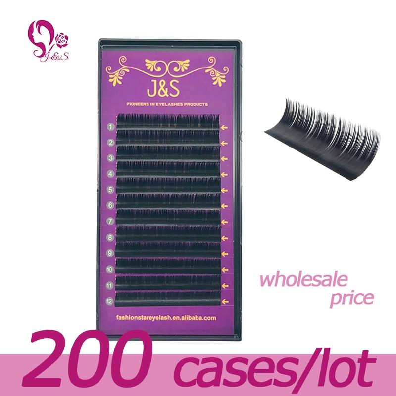 J&S 200 trays set, 0.05mm/0.07mm/0.10mm  silk eyelashes , B C D curl,12lines/tray, Wholesale faux mink eyelash extension