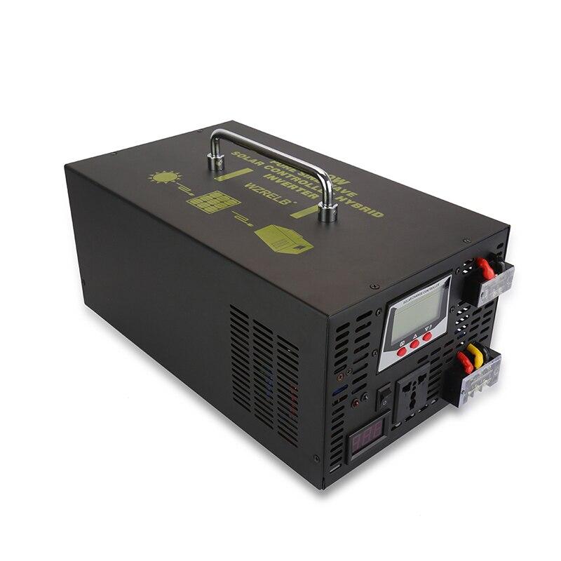 2500W Pure Sine Wave Hybrid Inverter 24V 220V Solar Inverter 12V/48V to 120V/230V/240V DC to DC/AC Converter 30A Control Charger