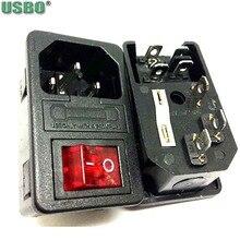 Haute qualité noir IEC320 C14 C13 10A 250V 4 broches UPS prise PDU avec porte-fusible prise de courant alternatif avec interrupteur à bascule marche-arrêt rouge