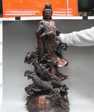Bi001672 Puro Cobre Rojo de Bronce Soporte Dragón GuanYin kwan-yin Bodhisattva Estatua de Buda