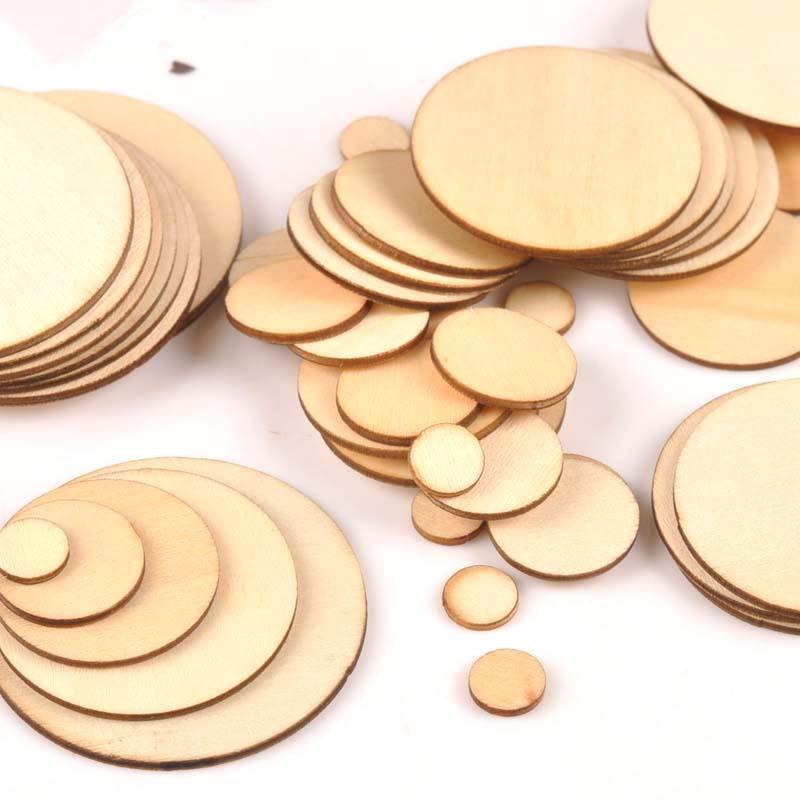 50 Uds mezcla redonda álbum de recortes de madera Carft para adornos caseros hechos a mano bricolaje círculo de madera decoración 10/20/30/40/50mm m1821