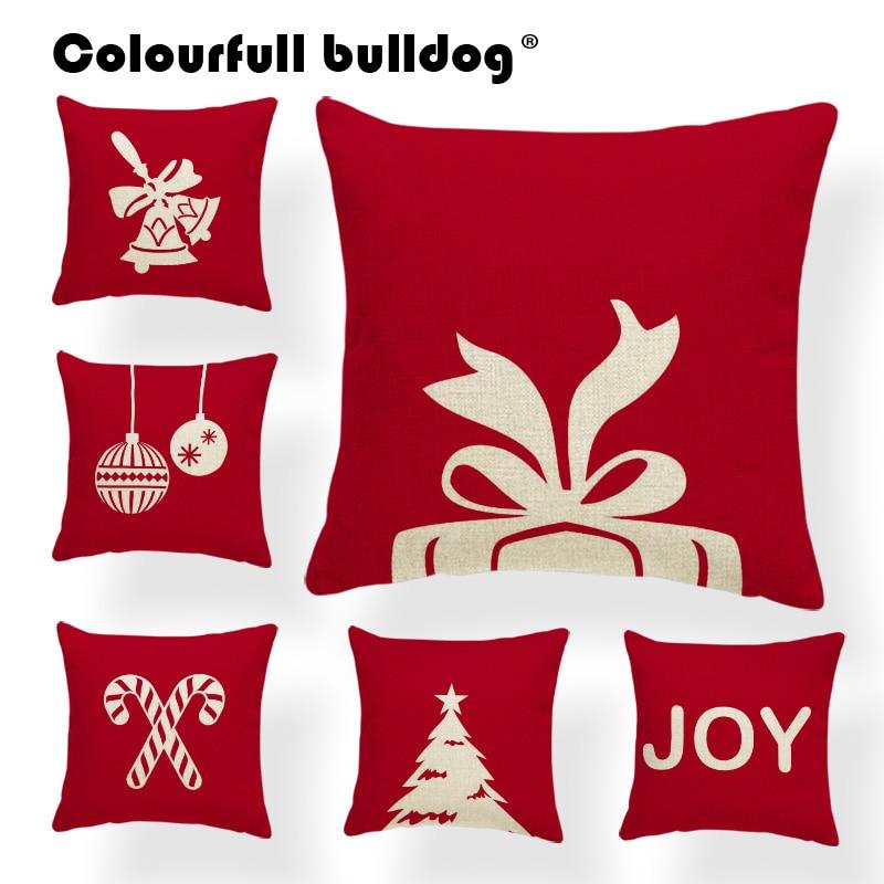 Funda de cojín nórdico con diseño de oso de Navidad, fundas decorativas para cojines de ciervo y animales con diseño de campana y árbol rojo