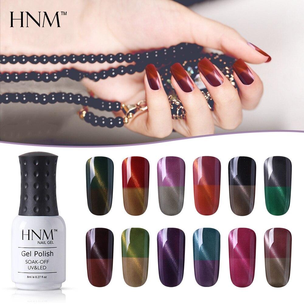 HNM 8ML Cat Eye cambio de Color térmico Gel LED UV esmalte de uñas Soak off Hybrid Lucky Semi permanente esmalte de uñas Shilak tinta de Gel