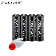 4 sztuk/partia PALO 3000mAh Ni-mh 1.2V akumulator aa 2A baterie do aparatu, mikrofon bezprzewodowy ect