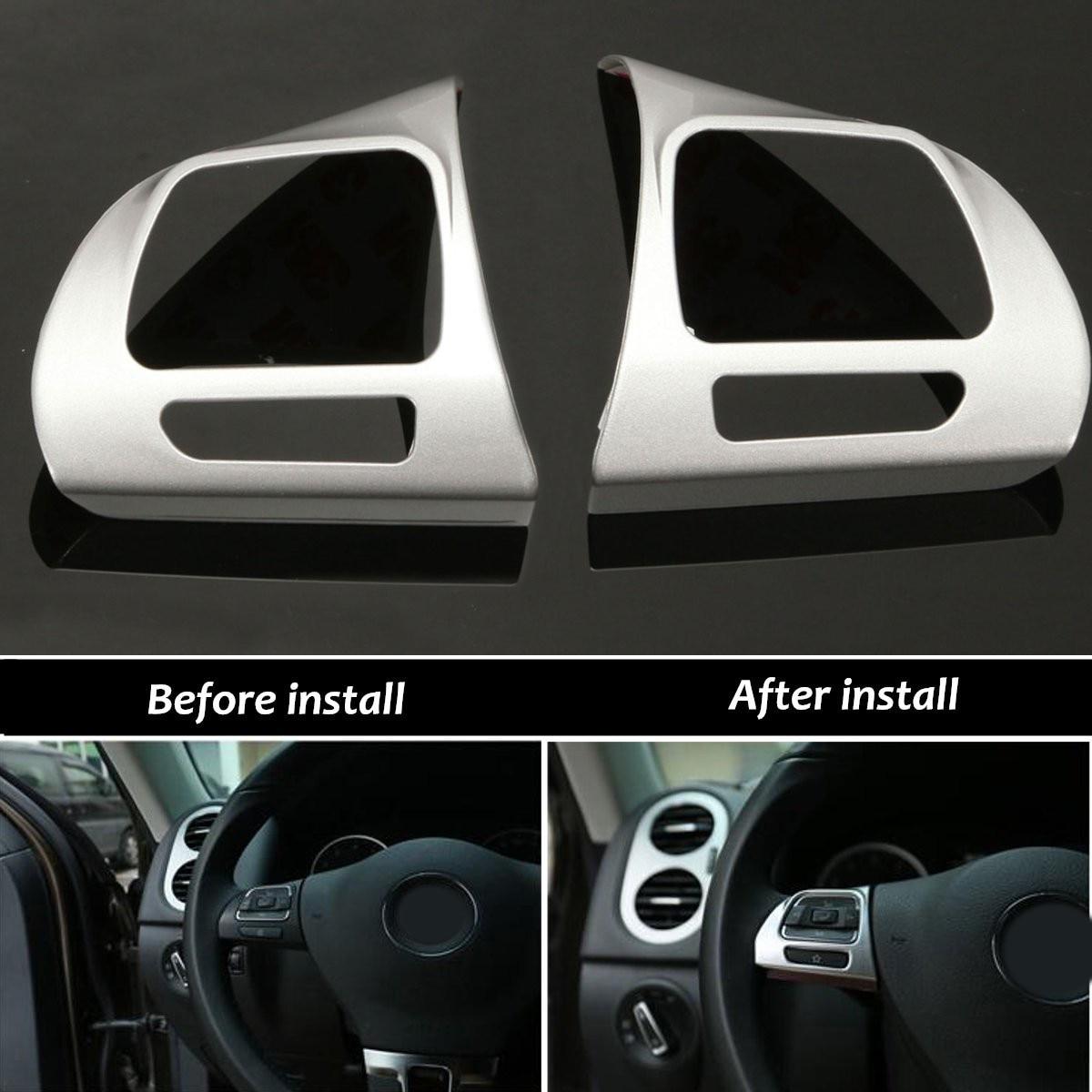 1 par de insignia de la cubierta del ajuste del inserto del cromo del volante para VW Golf MK6 Jetta Passat B7 CC