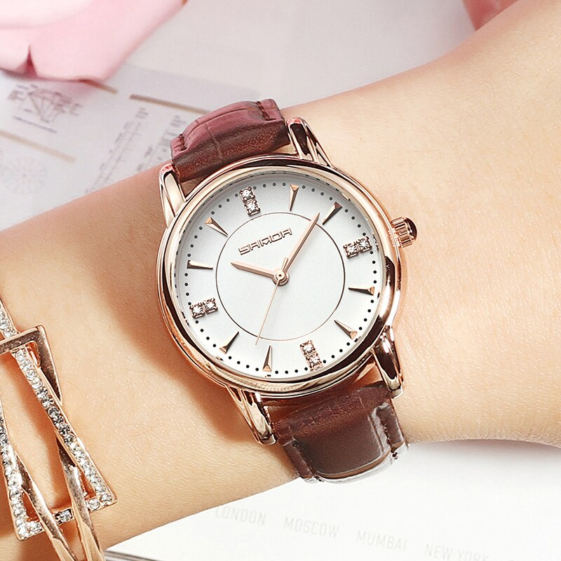 SANDA 215 Leather Women Watches Ladies Luxury Brand Crystal Wrist Watch Dress Female Clock Relogio Feminino Montre Femme