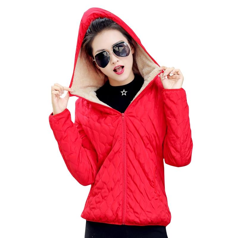 2019 women winter jacket hooded fleece solid coat spring thin outerwear female short parka zipper jaqueta feminina