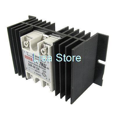 DC to AC Solid State Relay SSR-50DA 50A 3-32V 24-380V + Aluminum Heat Sink