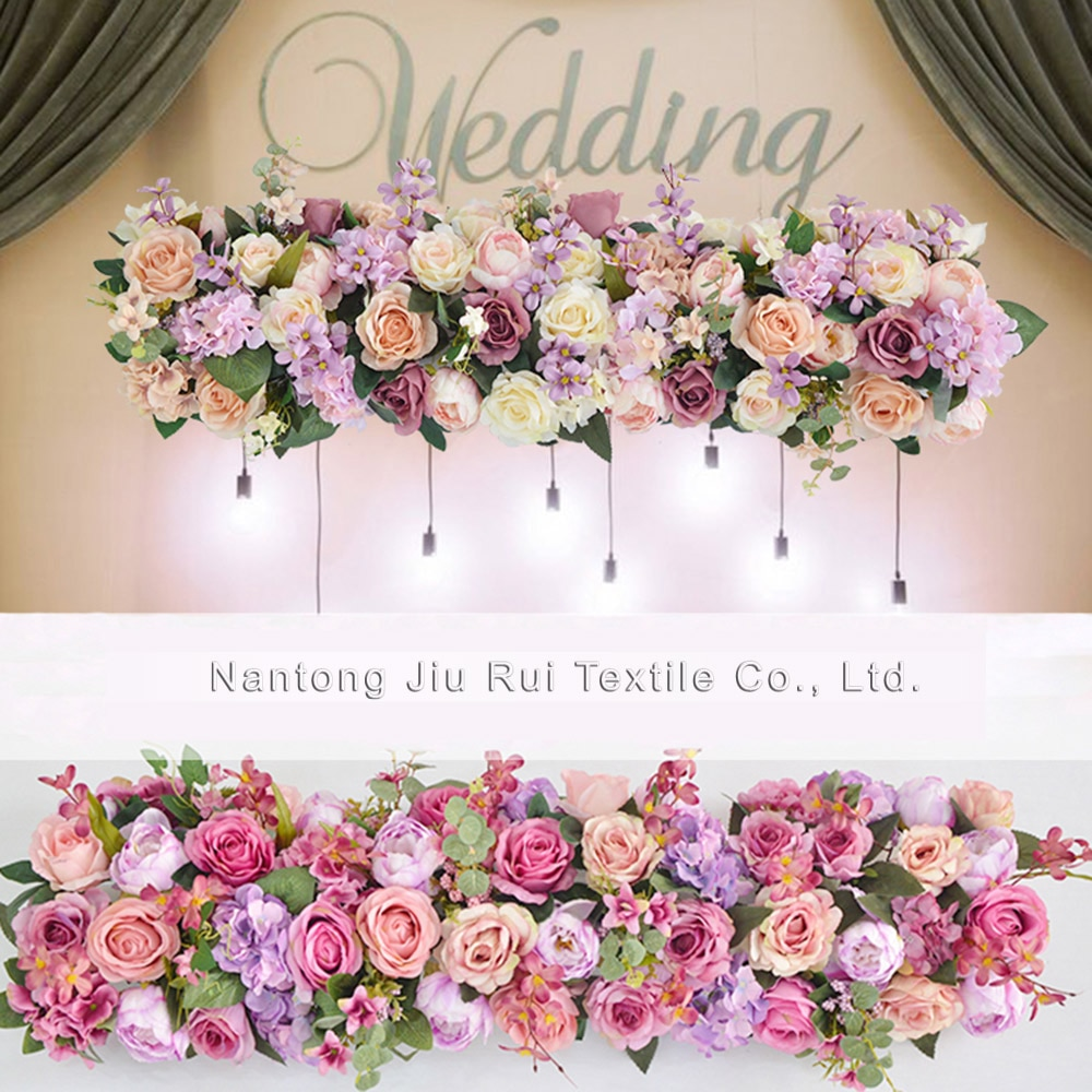 002 1 pieza = 1m 2 unids/lote boda escenario arco corredor de la tabla de pabellón Fondo flores decoración de la pared de la flor artificial