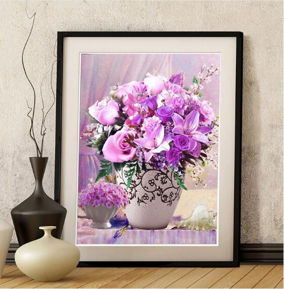 Iğne, DIY Çapraz dikiş, Set Tam nakış kiti, zarif mor zambak vazo çiçek Baskı Desen Çapraz Dikiş Düğün Hediyesi