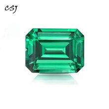 CSJ Criado Emerald Emerald Cut Nano Emerald Gemstone Solta Para Jóias de Prata Anéis De Montagem Diy de Corte Fino