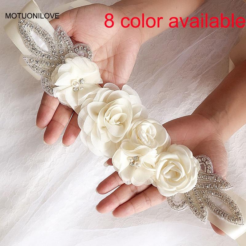 Cinturón de Flores con cuentas de champán y plata, accesorios para vestido de novia, Cinturon, Flores, Boda, Boda, 8 colores disponibles
