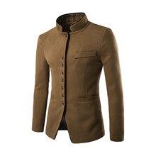 Winter Mantel Neue Herbst Männer Casual Anzug Männer Stehen Kragen Kammgarn Stoff Tasche Taste Schmücken Männer Freizeit Anzug Mantel