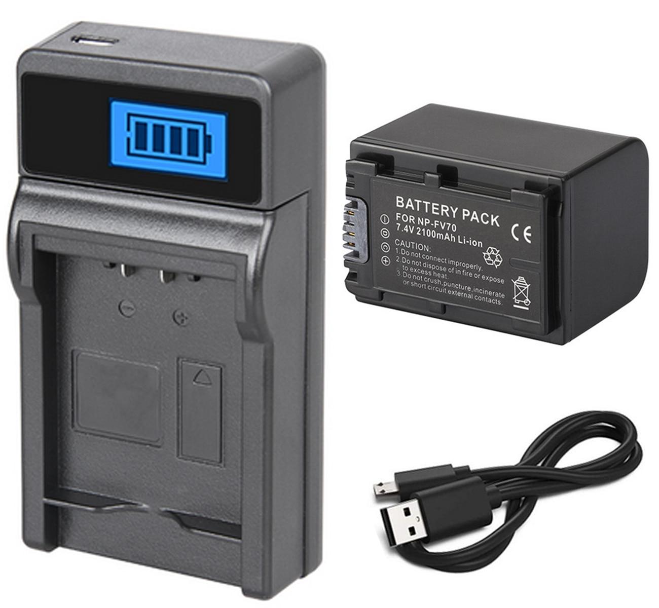 Paquete de baterías + cargador para Sony HDR-XR150E, HDR-XR155E, HDR-XR160E, HDR-XR260VE, HDR-XR350VE,...