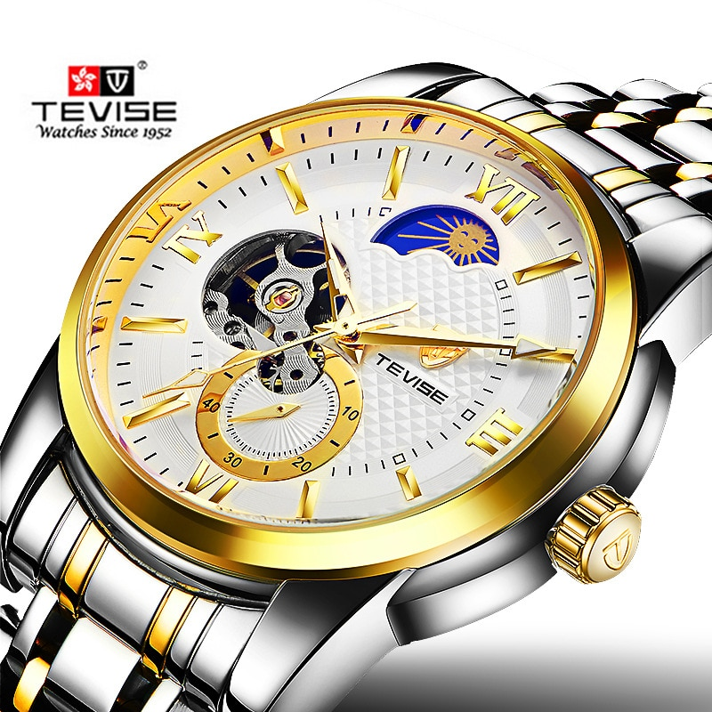 Tevise Brand Men 's Mechanical Watch Fashion Luxury Automatic Watches Moon Phase leisure Gold Wristw