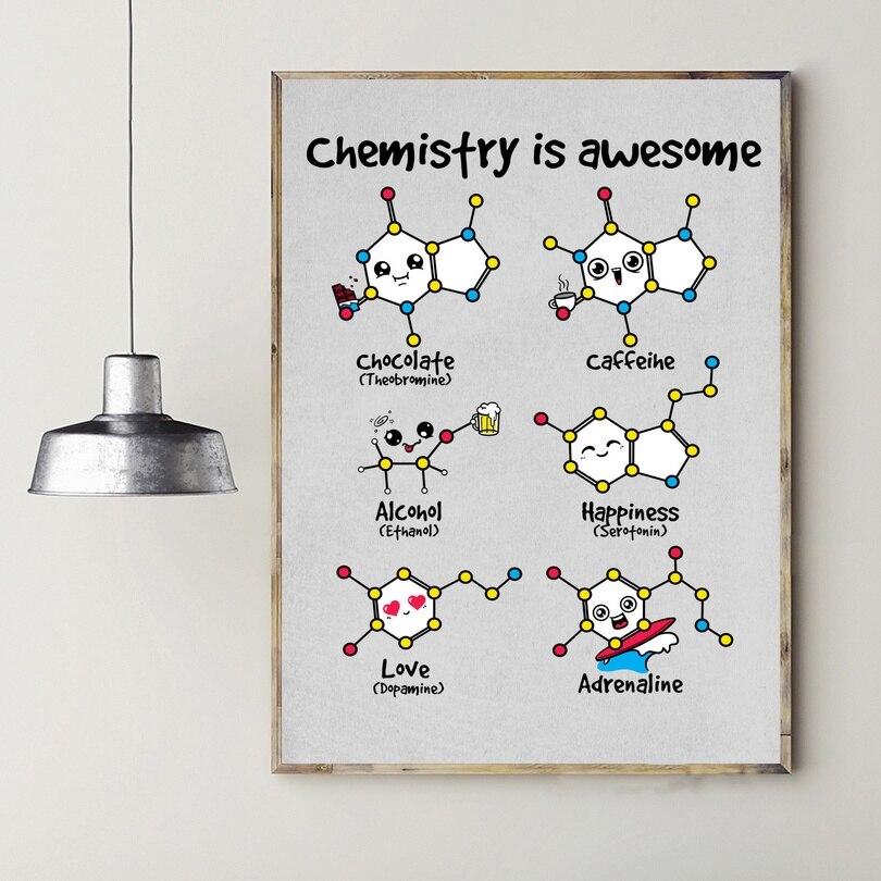 La química es increíble arte Cartel de la lona decoración Dropshipping. Exclusivo.