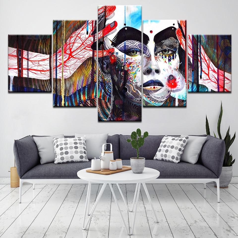 Arte de pared cuadro marco moderno HD impresión lienzo 5 piezas sala de estar decoración del hogar Color abstracto personaje pintura cartel Arte