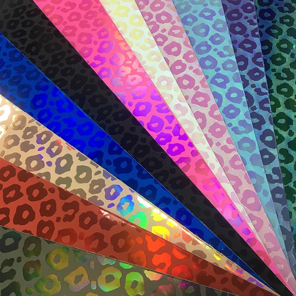 Lychee Life DIY A4 láser a color leopardo PU Tela de cuero sintético de alta calidad Material de costura