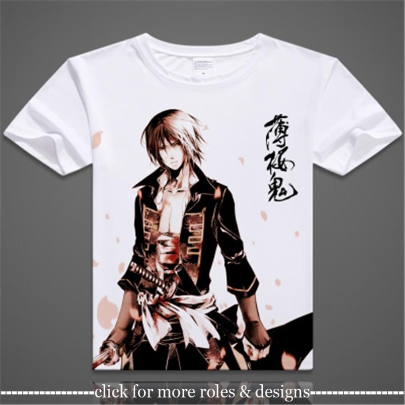 Hakuoki Toshizo Hijikata Cosplay ropa de traje Camiseta de manga corta Unisex