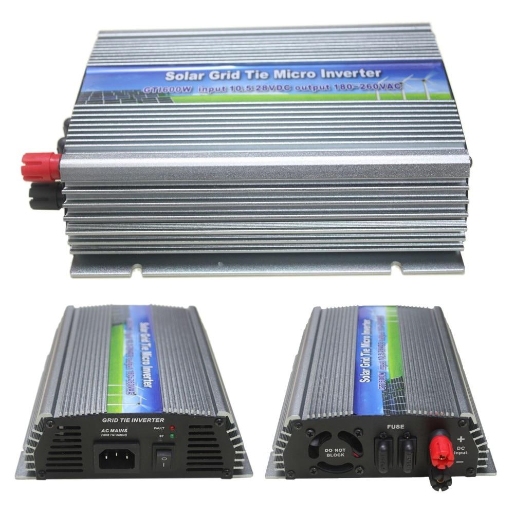 600W على شبكة التعادل العاكس 600W مايكرو العاكس المدخلات DC10.5V-28V إلى AC90-140V أو AC180-260V DC الطاقة الشمسية العاكس 600W GTI-600W