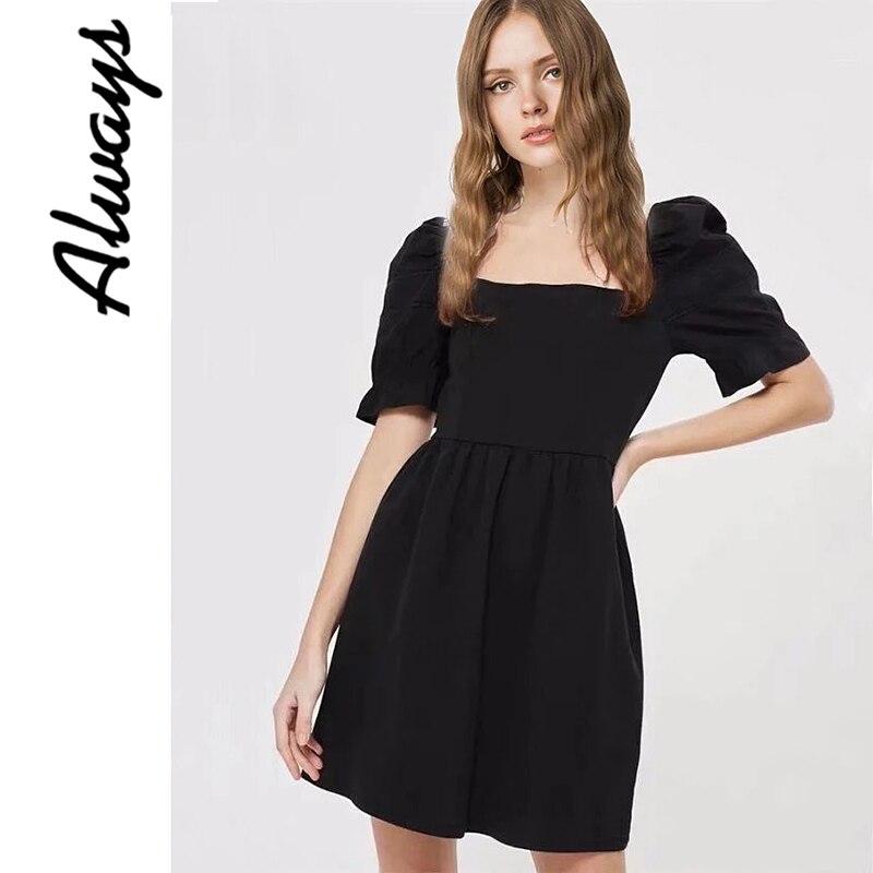 Alwayss vintage algodón negro Skater cuadrado cuello vestido streetwear verano vestidos de playa de verano ropa barata china para las mujeres