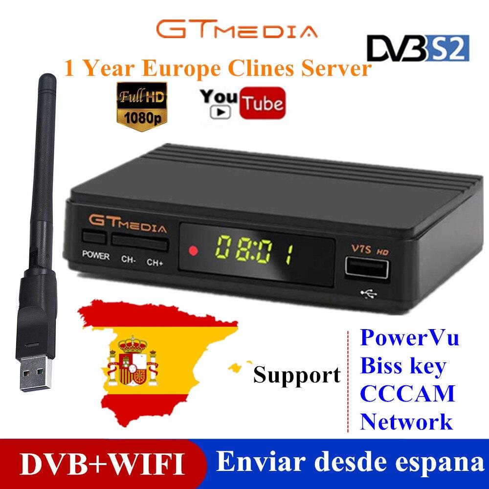 GTMedia-receptor satélite V7s HD DVB-S2, TV Box Freesat V7 Super, H.264, con wi-fi, CCcam Europa, España por 1 año