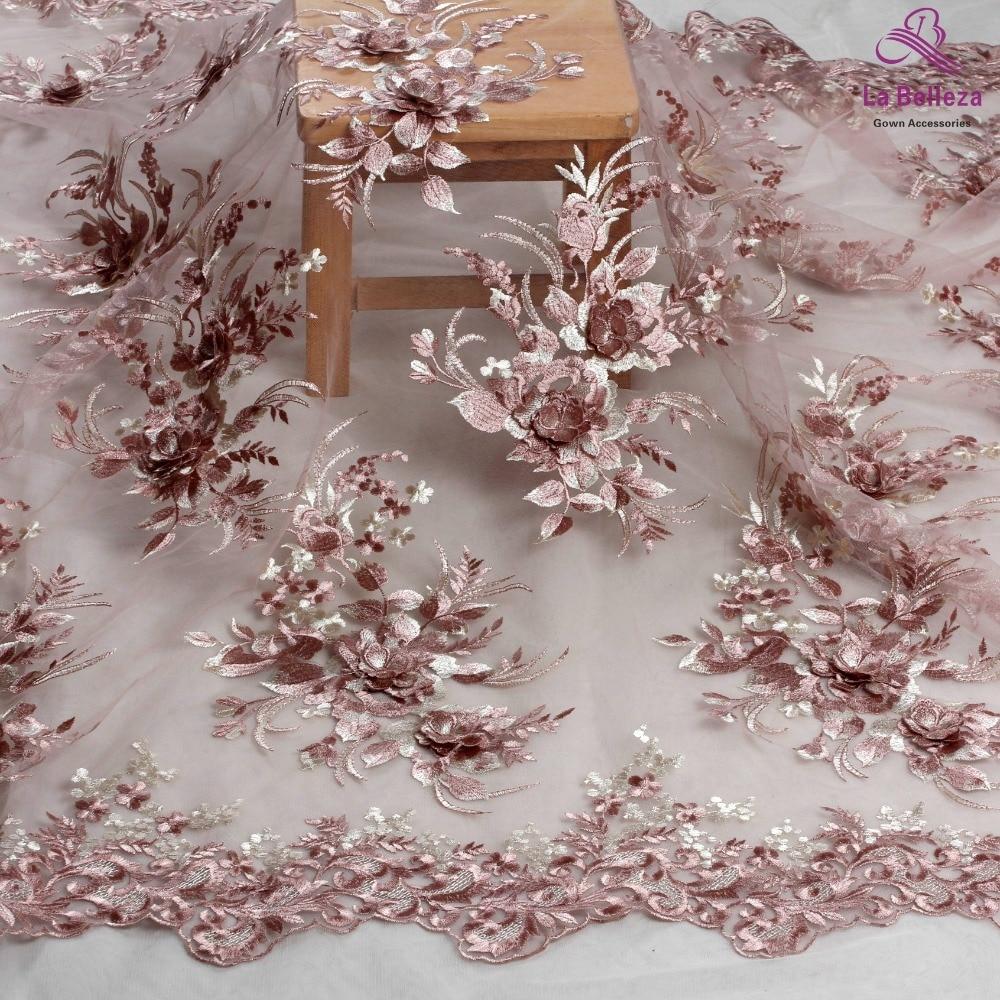 La Belleza new design lace ,Dark pink 3D flowers lace fabric,rose pink 3D flowers lace fabric evening dress lace fabric 1 yard