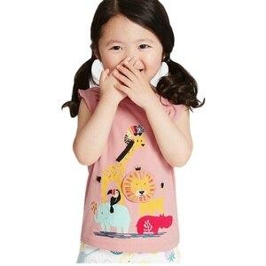 От 1 до 5 лет, летняя хлопковая Повседневная футболка для девочек с короткими рукавами с героями мультфильмов с изображением слона, льва; Детская одежда с рисунком Детские футболки Детские Топы KF982