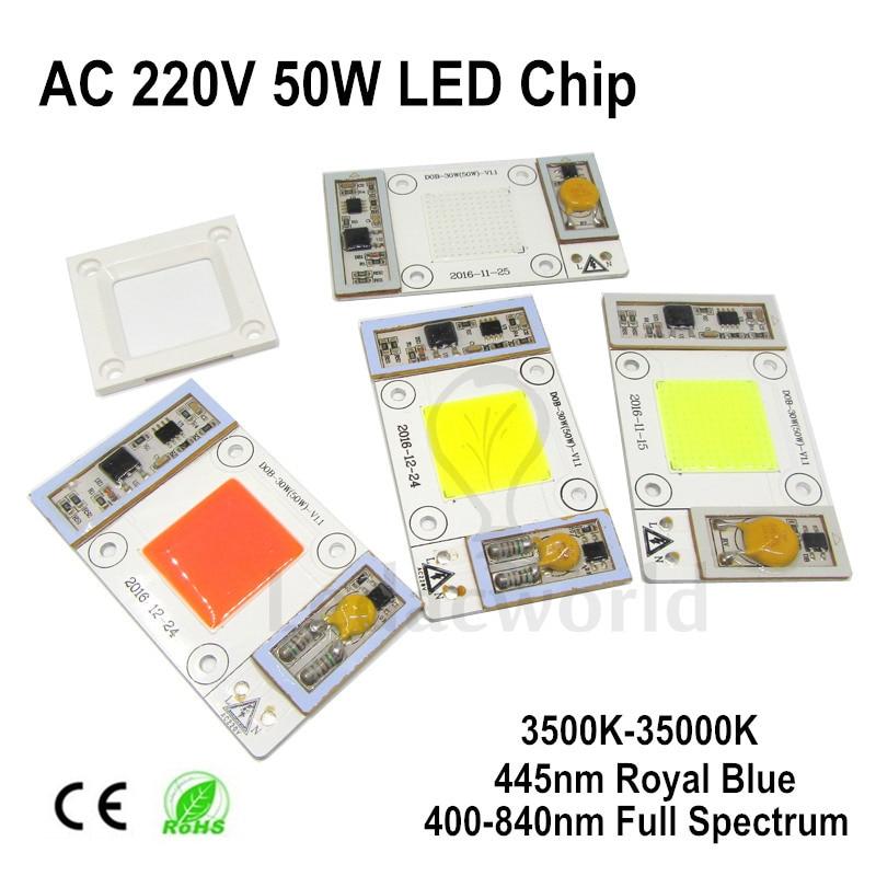 Chip de bombillas LED COB AC 110V AC220V 50W para cultivo de plantas, luz de espectro completo 400nm-840nm, 3000 K-35000 K blanco cálido y frío