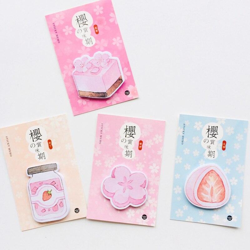 30 hojas Sakura & fresa pastel Bloc de notas Plan mensaje escritura Sticky marcador de notas Stick etiqueta escuela Oficina suministro