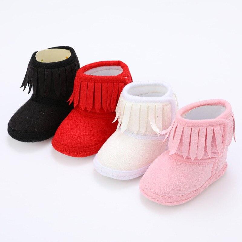 Botas de invierno para bebés recién nacidos, botas con flecos para niñas y recién nacidos, Color sólido, borlas, fondo suave, nuevas botas cálidas de algodón de 0 a 18M