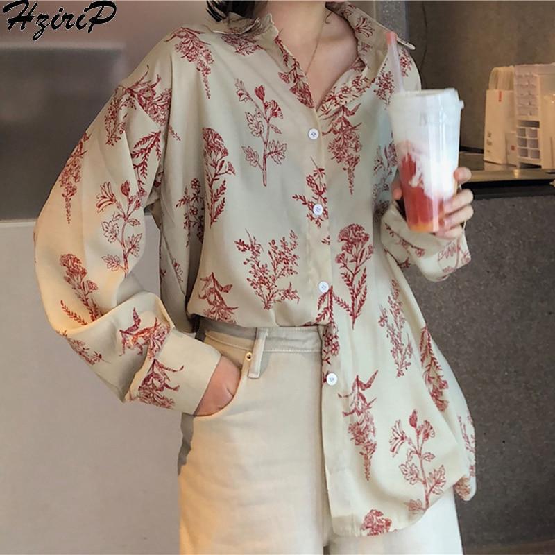 Hzirip 2019 nueva moda de primavera Casual de manga larga Retro Delgado suelta una sola hilera blusa fresca todo-fósforo imprimir camisas sueltas